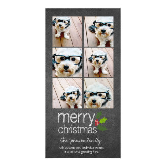 Chalkboard Photo Collage Merry Christmas Holly Card