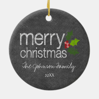Chalkboard Photo Collage Merry Christmas Holly Double-Sided Ceramic Round Christmas Ornament