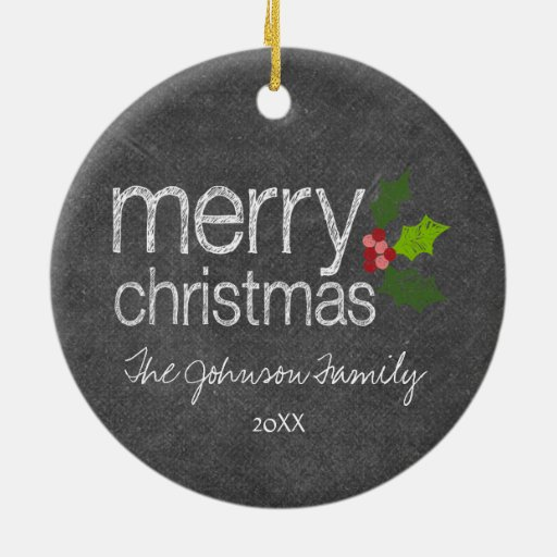 Chalkboard Photo Collage Merry Christmas Holly Ornament