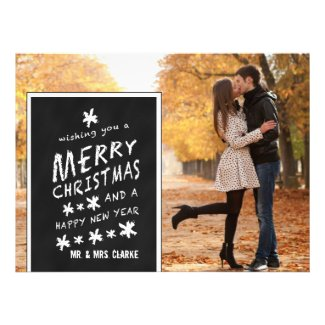 CHALKBOARD PHOTO HOLIDAY GREETING FLAT CARD