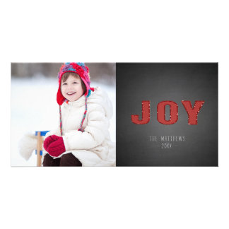 Chalkboard Photo Holiday Greeting | Red Joy Card
