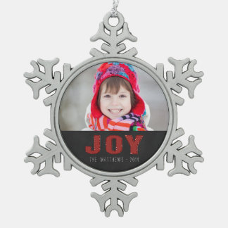 Chalkboard Photo Holiday Greeting | Red Joy Snowflake Pewter Christmas Ornament