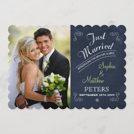 Chalkboard | Photo | Just Married Card