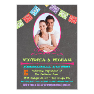 Chalkboard Photo Mexican Fiesta Rehearsal Dinner Personalized Announcement