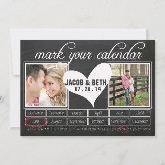 Chalkboard Photo Save the Date Calendar