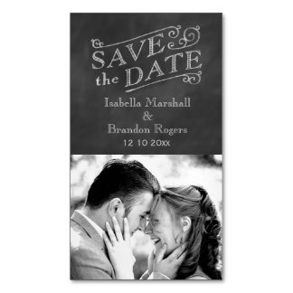 Chalkboard Photo Save the Date Magnet Magnetic Business Card