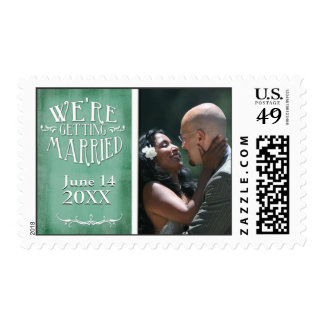 Chalkboard photo save the date postage