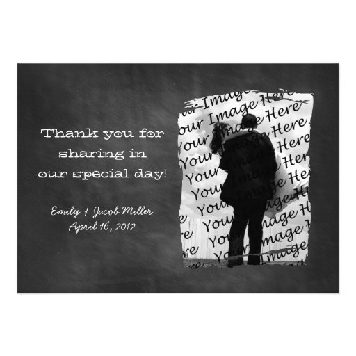Chalkboard Photo Thank You Notes Personalized Invite