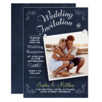 Chalkboard | Photo | Wedding Reception Invitation