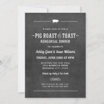 Chalkboard Pig Roast and Toast Rehearsal Dinner Invitation