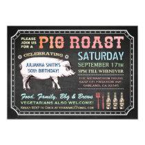 Chalkboard Pig Roast Invitations (Classy & Casual)