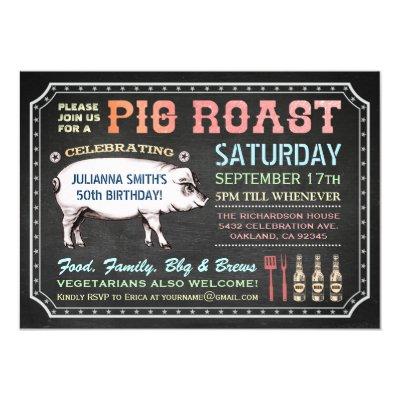 vintage pig roast ticket invitations zazzle com