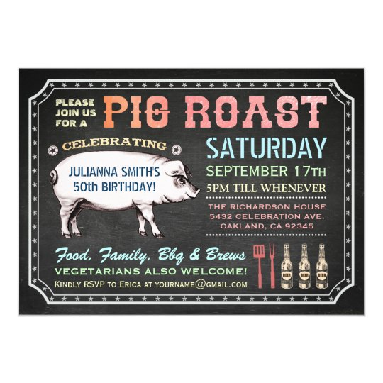 chalkboard pig roast invitations classy casual zazzle com