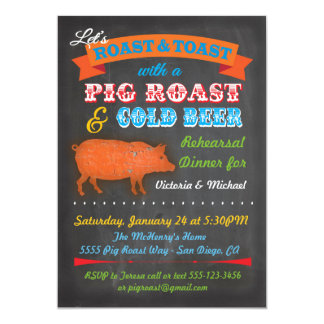 Chalkboard Pig Roast party invitation