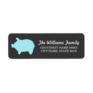 Chalkboard Piggie Address Labels / Blue