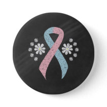 Chalkboard Pink and Light Blue Ribbon Button