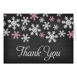 Chalkboard Pink and White Snowflake Thank You Card