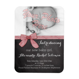 Chalkboard Pink Bow Girl Baby Birth Announcement Magnet