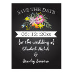 Chalkboard pink flowers wedding Save the Date Post Cards
