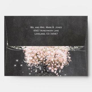 Chalkboard Pink Heart Leaf Tree Invitation Envelope