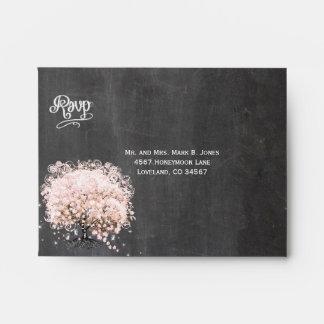Chalkboard Pink Heart Leaf Tree RSVP Envelopes