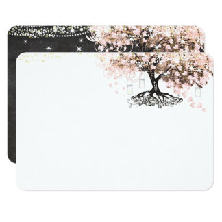 Chalkboard Pink Heart Leaf Tree Thank You Card
