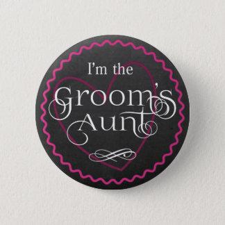 Chalkboard Pink Heart Wedding | Groom's Aunt Button