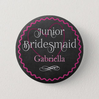 Chalkboard Pink Heart Wedding | Junior Bridesmaid Button