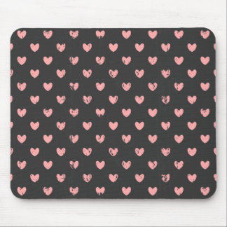 Chalkboard Pink Hearts Pattern Mouse Pad