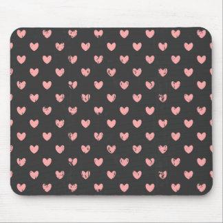 Chalkboard Pink Hearts Pattern Mouse Pad