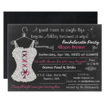 Chalkboard pink Lace Lingerie Shower Bachelorette Card