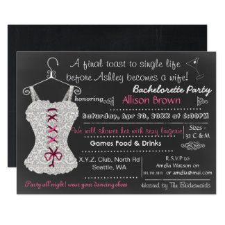 Chalkboard pink Lace Lingerie Shower Bachelorette Card