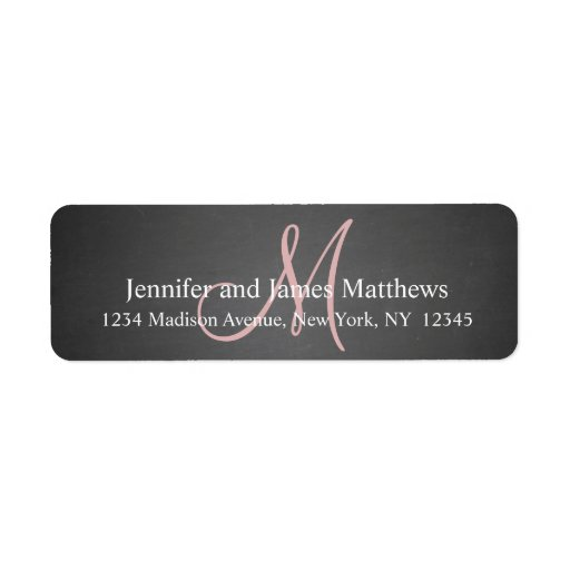 Chalkboard Pink Monogram for Weddings Return Address Label
