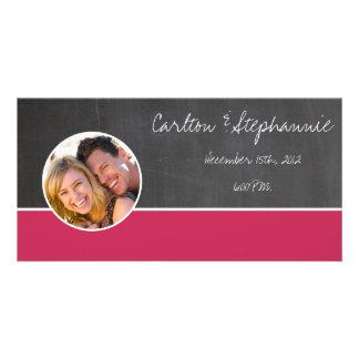 Chalkboard Pink Photo Wedding Announcement
