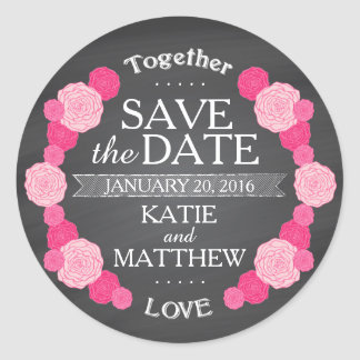 Chalkboard Pink Roses Save the Date Gift Label