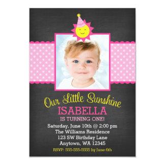 Chalkboard Pink Sunshine 1st Birthday Photo 5x7 Paper Invitation Card