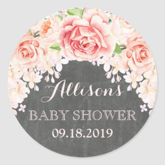 Chalkboard Pink Watercolor Flowers Baby Shower Classic Round Sticker