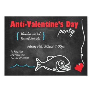 Chalkboard Piranha Anti-Valentines Day Invitations