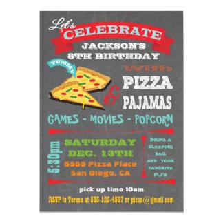 "Chalkboard Pizza & Pajamas Birthday Party 5"" X 7"" Invitation Card"