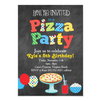 Chalkboard Pizza Party Invitation (Primary Colors)