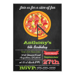 Chalkboard Pizza Party Invitations