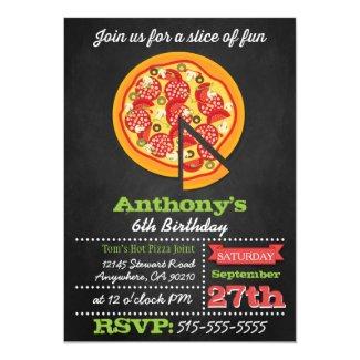 Chalkboard Pizza Party Invitations