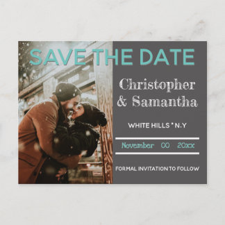 Chalkboard plain minimalist teal save the date announcement postcard