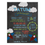 Chalkboard Plane Party personalized 1 year poster