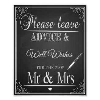 "Chalkboard ""please leave advice & wishes Print"