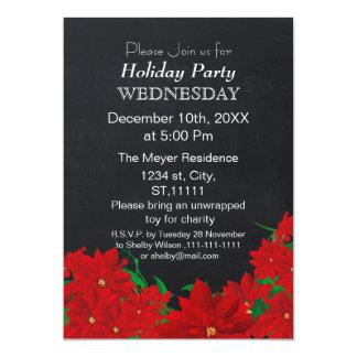 "Chalkboard Poinsettias Holiday party Invitation 5"" X 7"" Invitation Card"