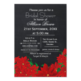 chalkboard poinsettias winter Bridal shower 5x7 Paper Invitation Card