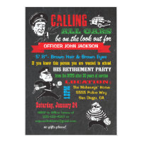 Chalkboard Police Retirement Party Invitations