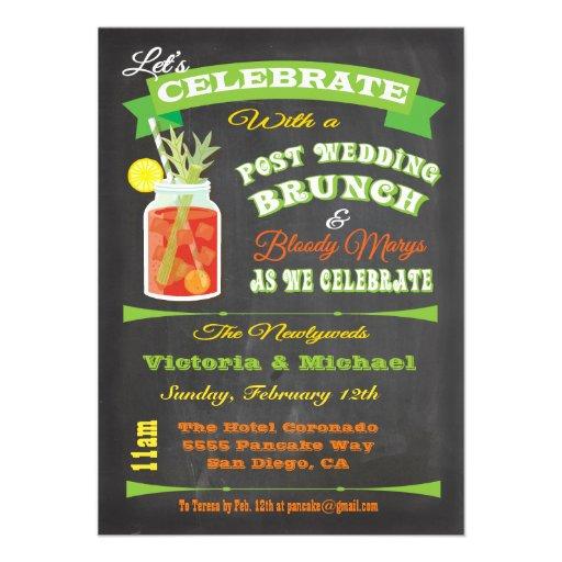 Chalkboard Post Wedding Brunch and Bloody Marys Custom Invitations