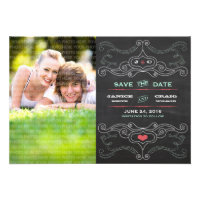 Chalkboard Poster Pink & Mint Photo Save the Date Custom Invitations